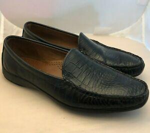 ALLEN EDMONDS Tampa Sz 9.5 E Black Croc Print Leather Driving Loafers 7717