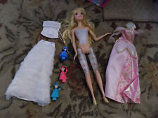 Lot HTF Barbie lights up & plays music Sleeping Beauty DOLL w/ 3 Fairy & clothes