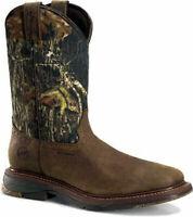 "Double-H® 12"" Field Flex Wide Sq Toe Roper Western Camo WP Work Boots Sz 9.5. D"