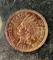 HIGH END 1883 U.S. INDIAN HEAD PENNY IN OLD HOLLANDER HOLDER, SEE OTHER COINS