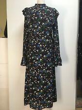 Essentiel Antwerp Lydia black printed silk dress long sleeve ruffle boho 40 12