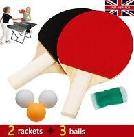 Table Tennis Ping Pong Racket 2 Paddles Bats 3 Balls Extending Net Game Set Uk