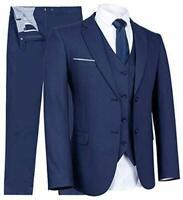 YIMANIE Men's Suit Slim Fit One/Two Button 3 Piece Suits Jacket, Blue, Size 3.0