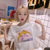 Cute White T-Shirt For Girl Women Sailor Moon Printed Harajuku Tee Shirt
