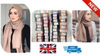 Plain Shawl Crinkle Scarf Hijab Crimped Maxi Scarf Soft Cotton Mix Frayed Edges