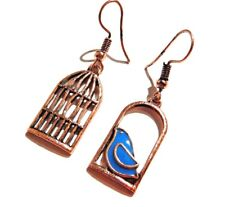 Small Blue Bird & Cage Earrings captive song pendant asymmetrical copper new 3H