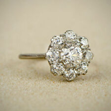 1.00 Cttw Round Cut 14k White Gold Over Diamond Flower Cluster Engagement Ring