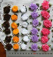 Satin CARNATIONS & Leaves 20-25mm 5 Colours - 6 Plus Flowers per Pk Choice VerF