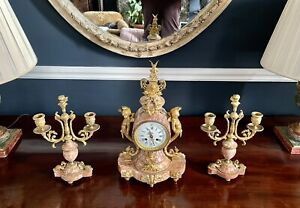Stunning Large French 19th Century Clock And Garnitures - 43cm H