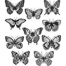 "NEW Tim Holtz Stampers Anonymous ""FLUTTER"" Butterflies Rubber Cling Stamp Set"