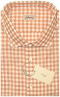 $575 NEW BRIONI ORANGE TAUPE WHITE CHECK SUMMER LINEN DRESS SHIRT II S 39 15.5