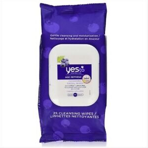NEW YES TO Blueberries Age Refresh Facial Wipes Makeup Remover Moisturizer