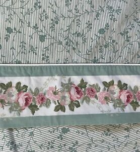 Laura Ashely Cottage Roses Pink Green Floral Double Full 4 Pc Sheet Set
