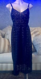 Stella Dress Size 10 Navy Lace Overlay RRP $189 NEW!!