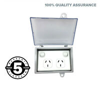 Weather proof DOUBLE POLE Power Point + WATER Enclosure Lock Clear Lid Outdoor