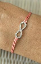 Bracelet Chakra Wire Pink Salmon Bow Infinity without End Rhinestone Diamante