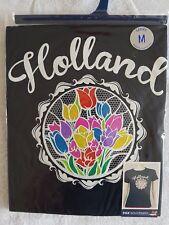 Holland Tulips Lace Design Ladies Size M T-shirt Black