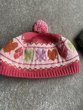 Euc Gymboree Mix N Match Hearts Pink Knitted Hat Pom Pom Argyle 5 7