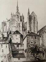 KRIEGER gravure eau forte etching Vue Du Mont Saint St Michel Bretagne Normandie