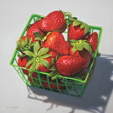 DANFORTH Pint Of Strawberries 8x8 archival giclee paper print of painting