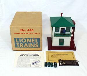 Postwar Lionel #445 Operating Switch Tower~All Original~w/Nice OB & Instructions