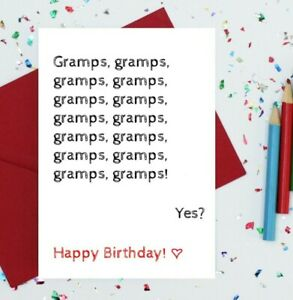 Gramps card - funny birthday card for gramps - gramps birthday card - toddler