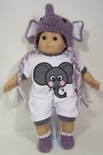 3pc ELEPHANT Romper Cap Booties Doll Clothes For Bitty Baby Boy &Girl Twin (Debs