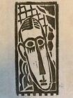"""MAX WEBER Original Woodcut - """"Head of a Man"""" 1919-1920"""