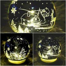 LED beleuchtete Deko Winter Kugel 10cm m.Timer Weihnachten Baum Rentier Batterie