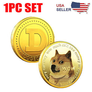 1PC Gold Dogecoin Coins Commemorative 2021 New Collectors Gold Plated Doge Coin