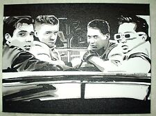 Canvas Painting Back To The Future Movie Biff & Gang B&W Art 16x12 inch Acrylic