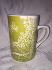 Starbucks Mug 2005 Floral Lime Green Henna Pattern