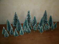 """Lot of 24 Bottle Brush Trees Green Frosted - 1.5"""" - 4.5"""" Seconds"""