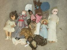 VINTAGE DOLL LOT COMPOSITION BLACK BABY CLOTH BISQUE DRP WIGS WAX TLC MISC LQQK!