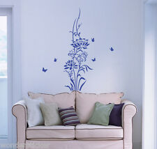 Lotus Flower Butterflies Wall Sticker DIY Home Decor Wall Art Vinyl Wall Decal