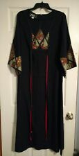 Vintage 70's Aikn California Black Maxi Dress, Kimono Sleeve, 14, Very Nice!