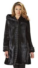 Excelled Womens Plus Fur Look Hooded Jacket Black 2X #NK8T8-913