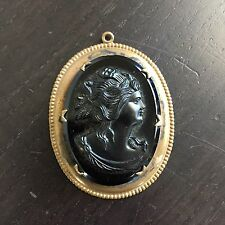 Fine Old Vintage Carved Cameo Glass Stone High Relief Lady Brass Brooch Pin NICE