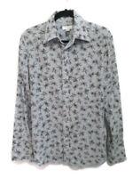 "Diesel Mens Size Medium Light Blue Long Sleeve Casual Print Floral Shirt 40"""