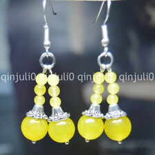 Natural Yellow Topaz Double Towers Earrings 10mm Gems Ball Silver Hook JE96