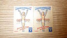 Bloc 2 Timbres Vignettes CNDT TUBERCULOSE 1944 2x 5 francs FRANCE