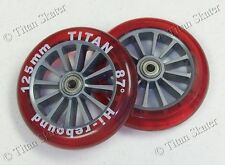 125mm RED Wheels with ABEC-9 Bearings for TITAN FS/KS 532, RAZOR A3 Kick Scooter