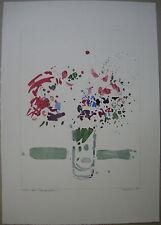 Oskar Koller aquarellierte Lithographie Blumenstilleben signiert 1975