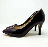 Red Herring Dark Purple Patent Court Shoes Pointed Toes Heels UK 4 EU 37