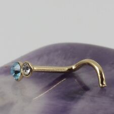 Curved Nose Stud Screw Yellow Gold Plated Clear & Aquamarine Crystal Motif 22g