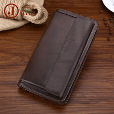 Men Cowhide Leather Clutch Wallet Zip Planner Notebook Cover Flap Organizer