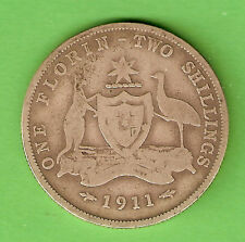 1911  AUSTRALIAN STERLING SILVER FLORIN TWO SHILLING  COIN