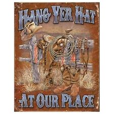 Sign - Hang Yer Hat At Our Place Man Cave Garage Shed Tool Room Mens Gift
