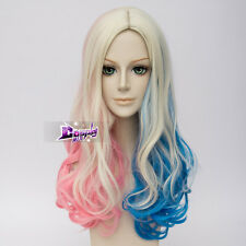 Curly Long Blond Mixed Blue Pink Anime For Harley Quinn Cosplay Synthetic Wig