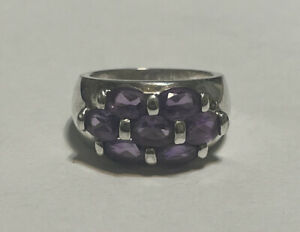 Sterling Silver Amethyst Ring Signed CI Size 6